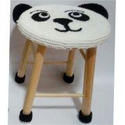Banquinho Infantil Forrado em Crochet - Panda