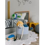 Cesto Crochet  Azul e Cinza