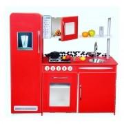 Cozinha Infantil em Madeira Retro Completa - Vermelha