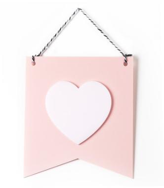 Estandarte em Acrílico - Coração Rosa
