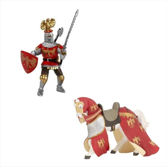 Papo Miniatura - Cavalo e Cavaleiro Vermelho