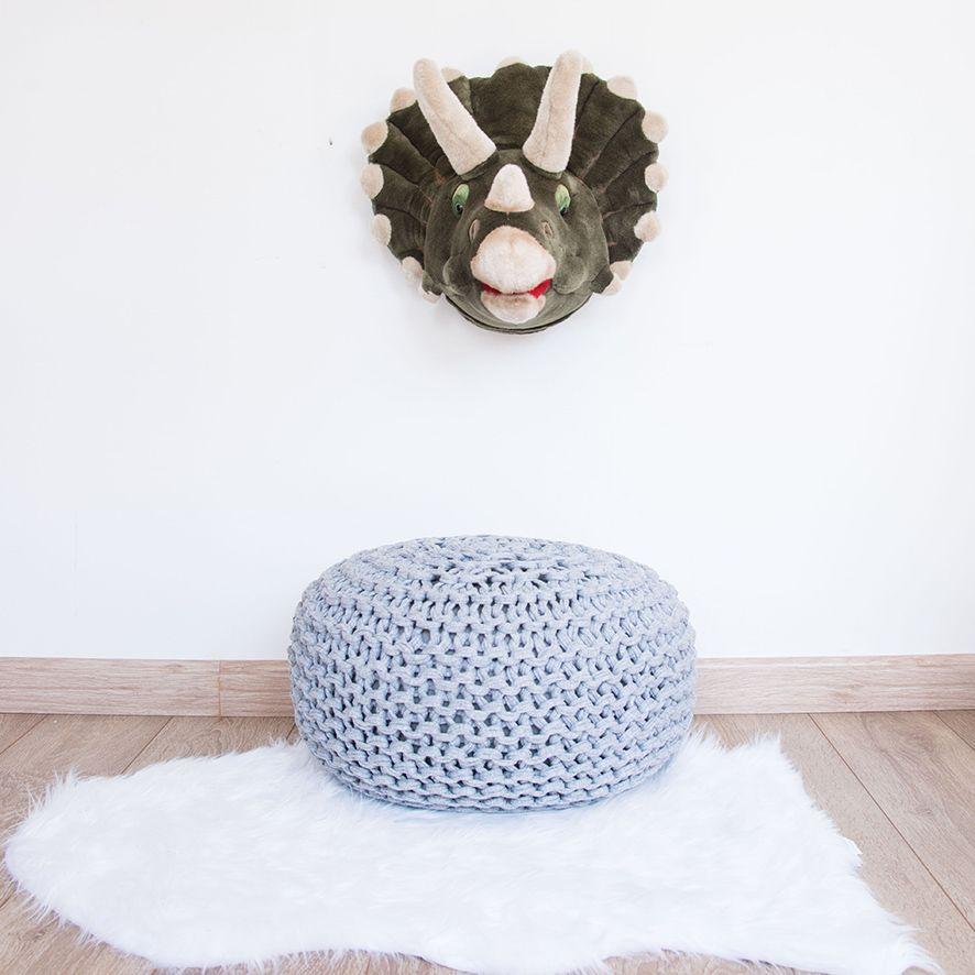 Puffe em Maxi Tricot Fio de Malha - Cinza Claro