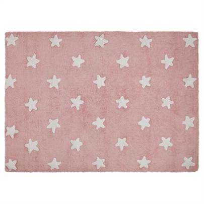 Tapete Lorena Canals Rosa com Estrelas Brancas -  Antialérgico