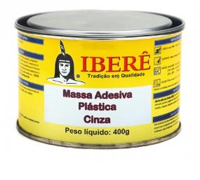 MASSA ADESIVA PLÁSTICA COR CINZA 400G - IBERÊ