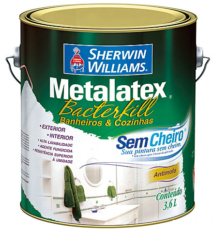 TINTA BACTERCRYL 3,6L BRANCO SHERWIN WILLIAMS