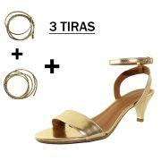 Sandália Troca Tira Salto Baixo Fino Ouro Mod. 2013-2
