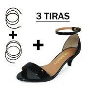 Sandália Troca Tira Salto Baixo Fino Verniz Preto Mod. 4065-2