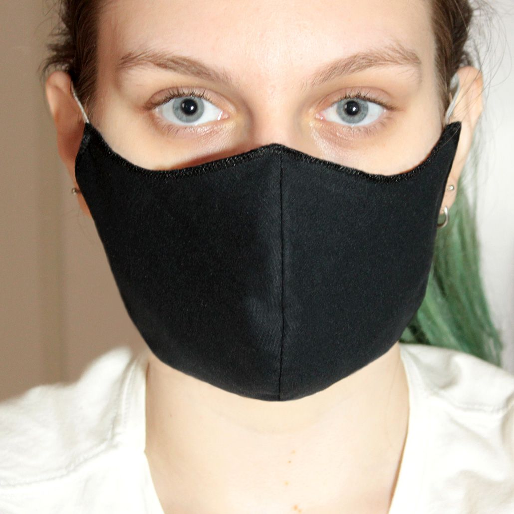 Máscara em Tecido Duplo Preto, Reutilizável e Lavável 5 Unidades