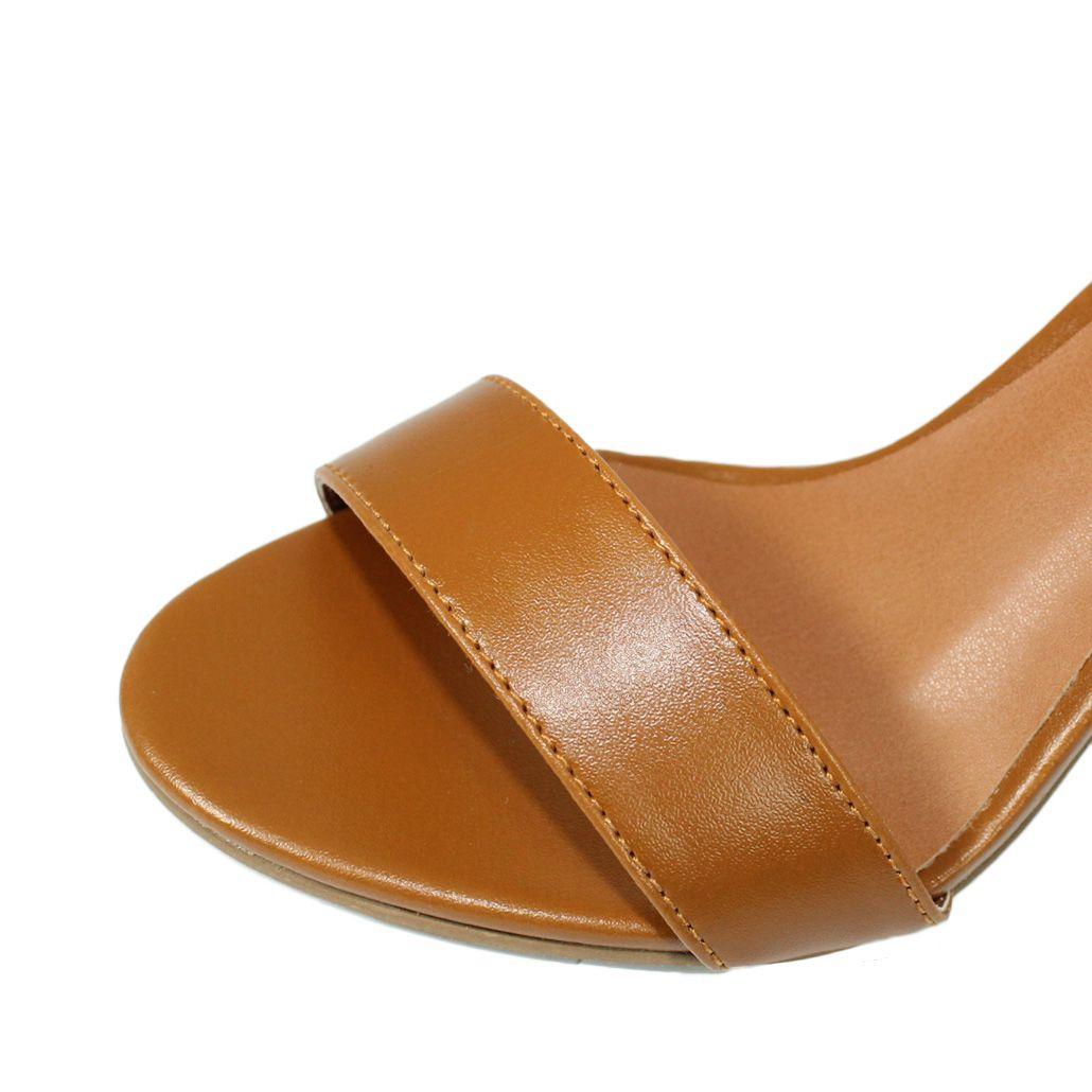 Sandália Salto Alto Fino Luiza Sobreira Caramelo Mod. 1050