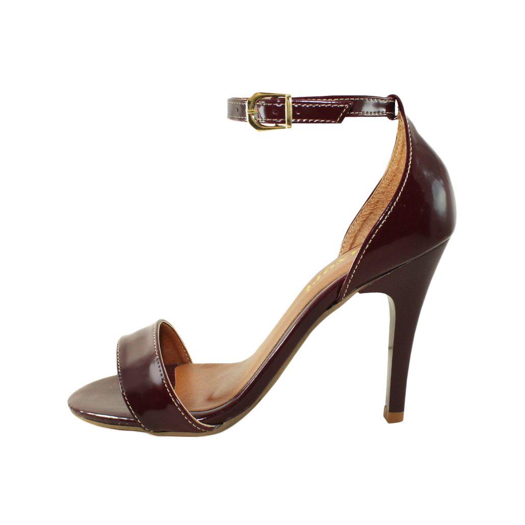 Sandália Salto Alto Fino Luiza Sobreira Verniz Bordô Mod. 1052