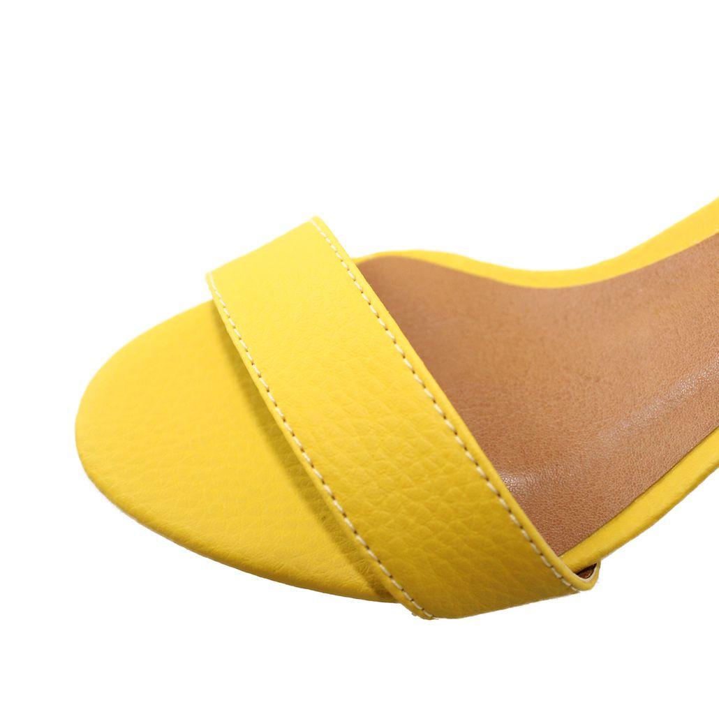 Sandália Salto Baixo Fino Luiza Sobreira Couro Amarelo Mod.2021