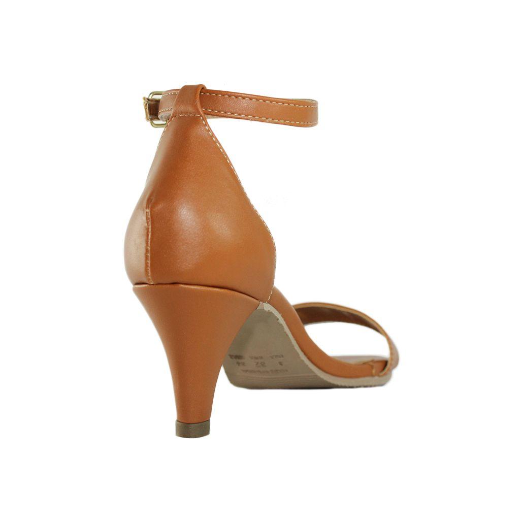 Sandália Salto Baixo Fino Luiza Sobreira Couro Caramelo Mod. 3002
