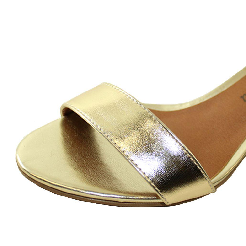 Sandália Salto Baixo Fino Luiza Sobreira Couro Ouro Mod.2020