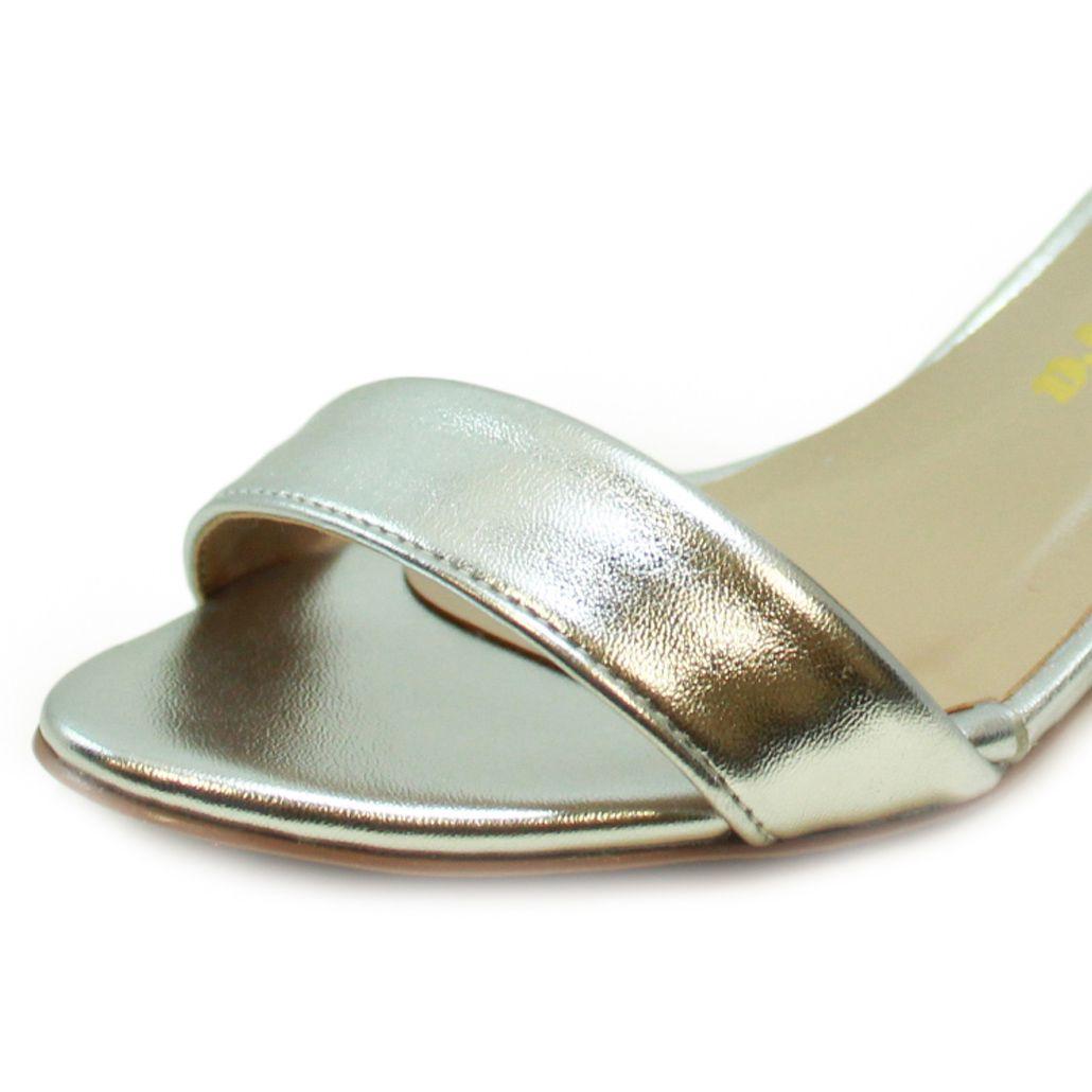 Sandália Salto Baixo Fino Luiza Sobreira Prata Mod. 4080