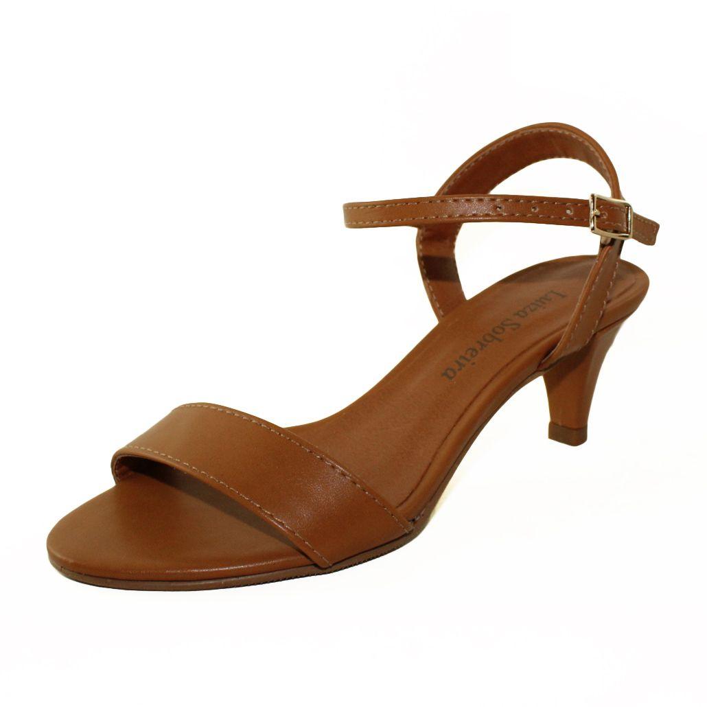 Sandália Salto Baixo Fino Luiza Sobreira Couro Caramelo Mod. 2011