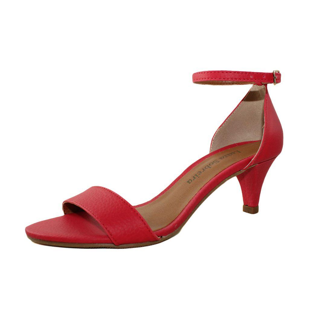 Sandália Salto Baixo Fino Luiza Sobreira Couro Vermelho Mod. 2016