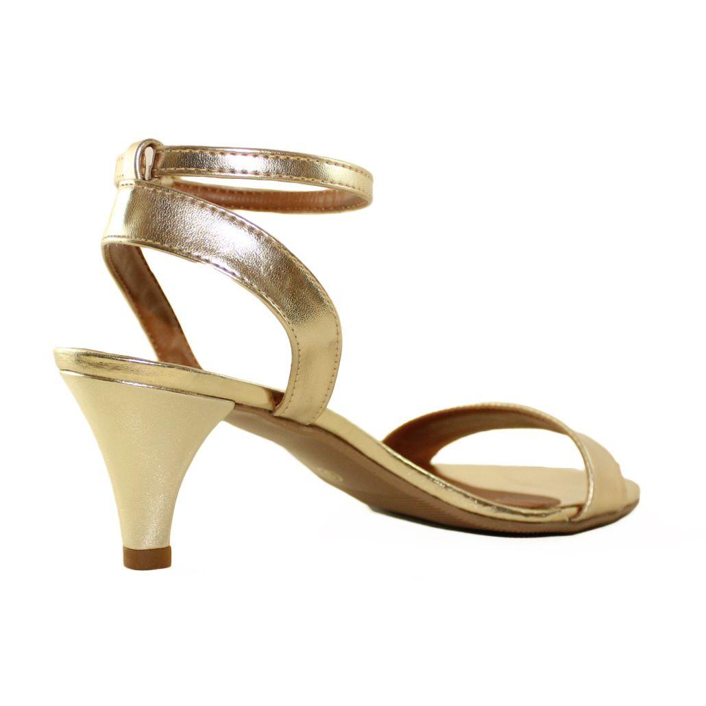 Sandália Salto Baixo Fino Luiza Sobreira Ouro Mod. 2013