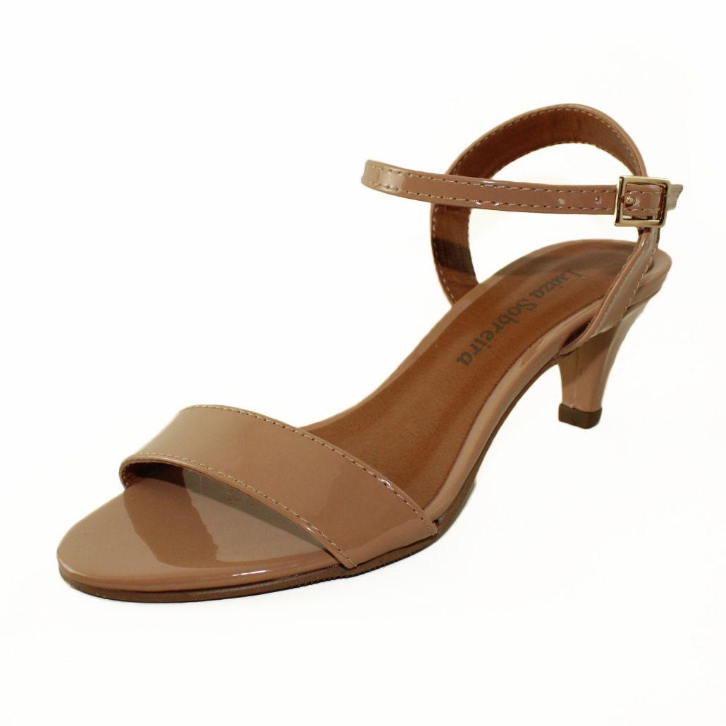Sandália Salto Baixo Fino Verniz Nude Mod 2009