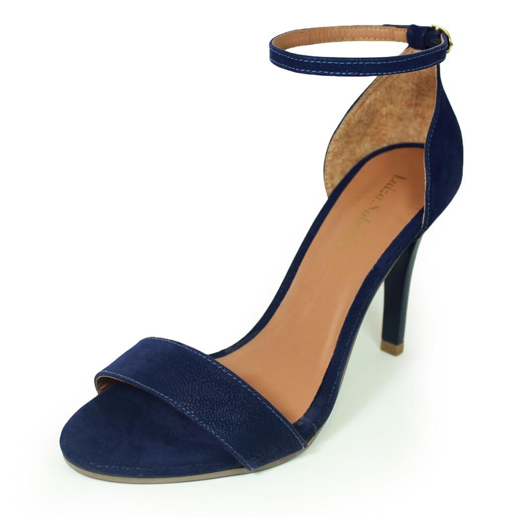 59f8a8161 Sandália Salto Alto Fino Luiza Sobreira Nobuck Azul Marinho Mod. 489