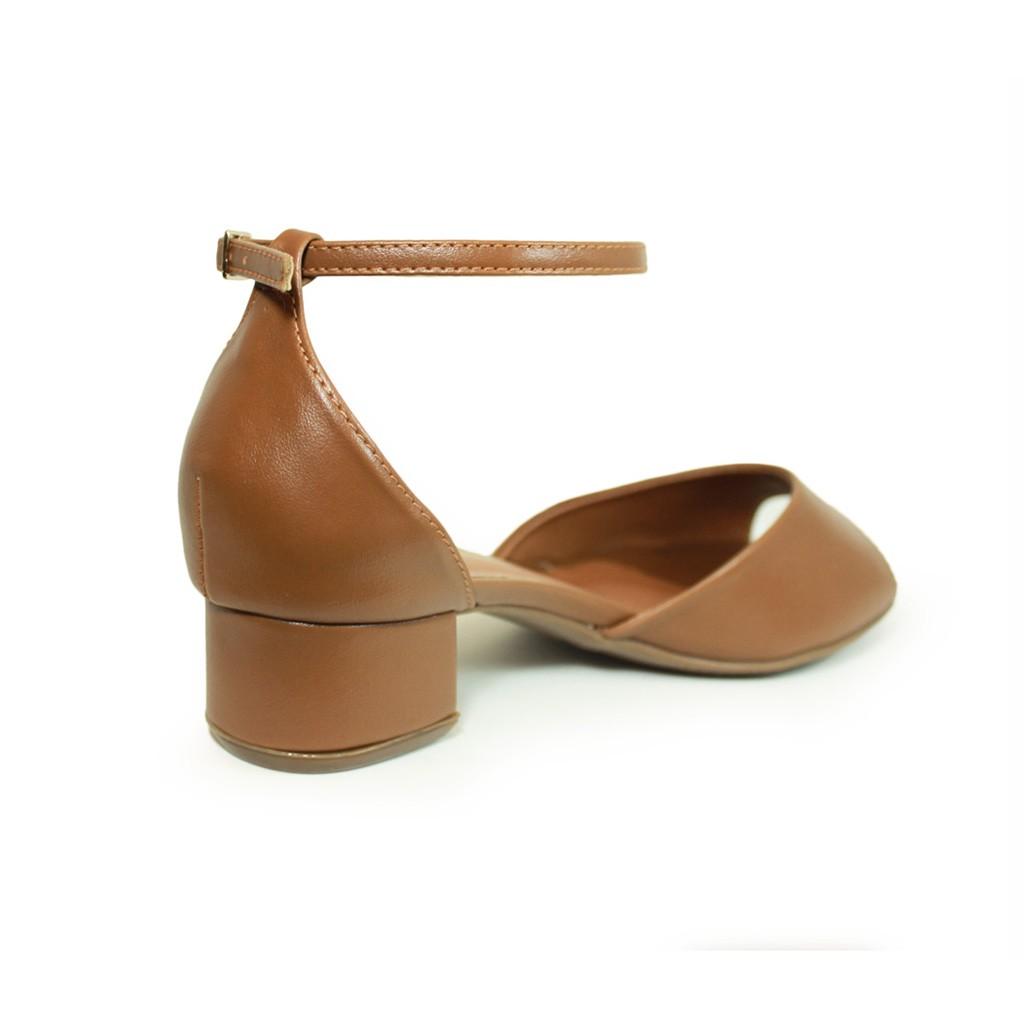 Sandália Salto Baixo Grosso Luiza Sobreira Couro Caramelo Mod. 40111