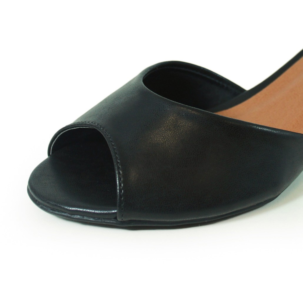 Sandália Salto Baixo Grosso Luiza Sobreira Couro Preto Mod. 4014