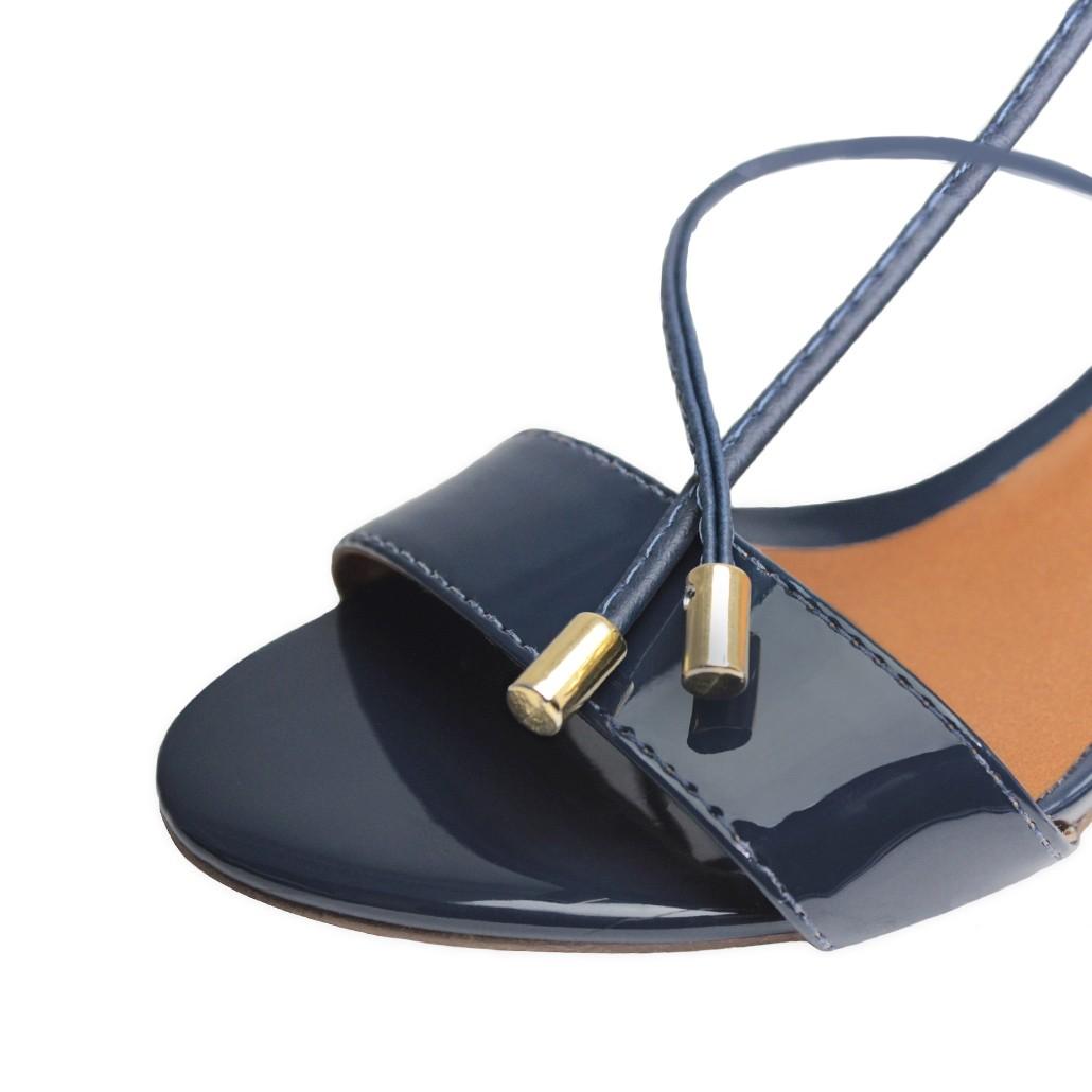 Sandália Troca Tira Salto Baixo Fino Luiza Sobreira Verniz Azul Marinho Mod. 2052-2
