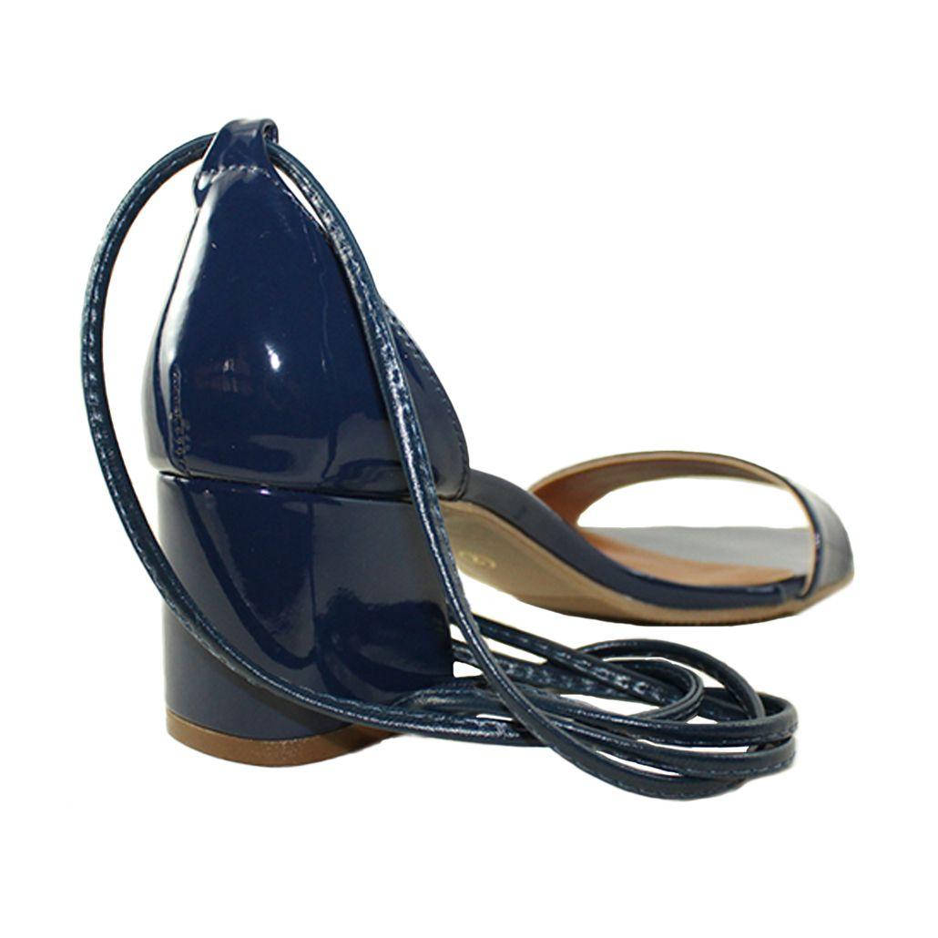 Sandália Troca Tira Salto Baixo Grosso Verniz Azul Marinho Mod. 2015-2
