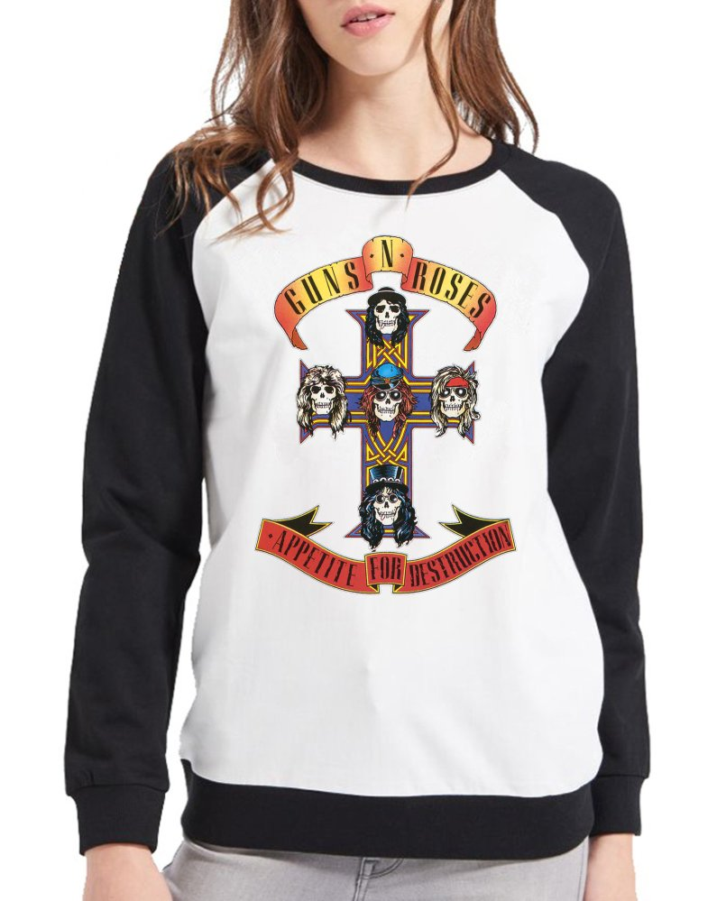 8751b1893 Moletom Raglan Feminino Guns n' Roses - Appetite For Destruction ES_099