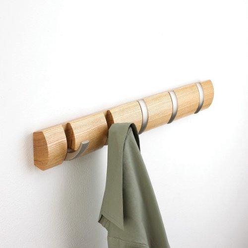 Cabideiro de Parede 5 Ganchos Flip Natural / Prata - Umbra