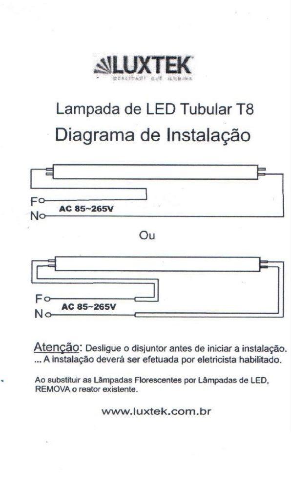 Lâmpada de LED Tubular T8 1,2m 20W - LT-T8-12020W - Luxtek