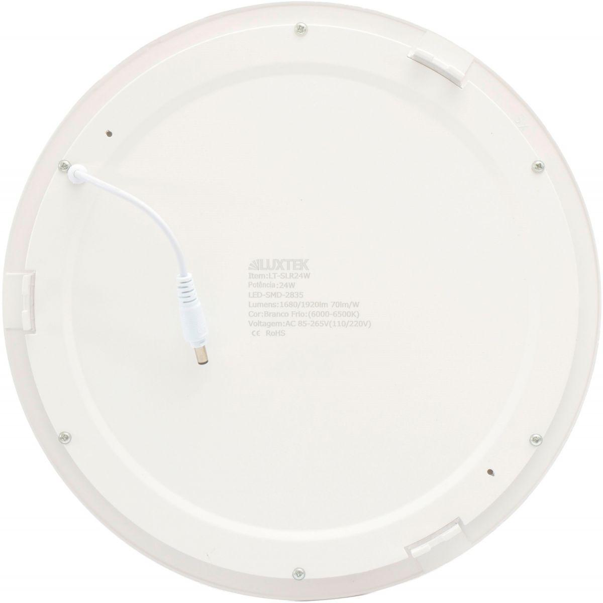 Luminária Plafon LED 24w Embutir Branco Frio Redonda - LUXTEK