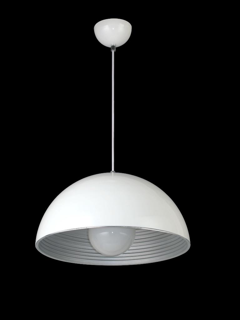Luminária Pendente Alumínio Branco Fosco interior prateado Ref: Lt-731G-PT
