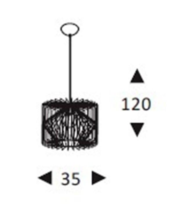 Luminária Pendente Aramado Grande Preto Ref: Lt-301-G