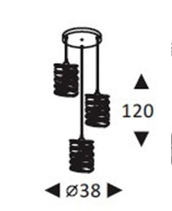 Luminária Pendente Aramado TRIO Preto Ref: Lt-357-3