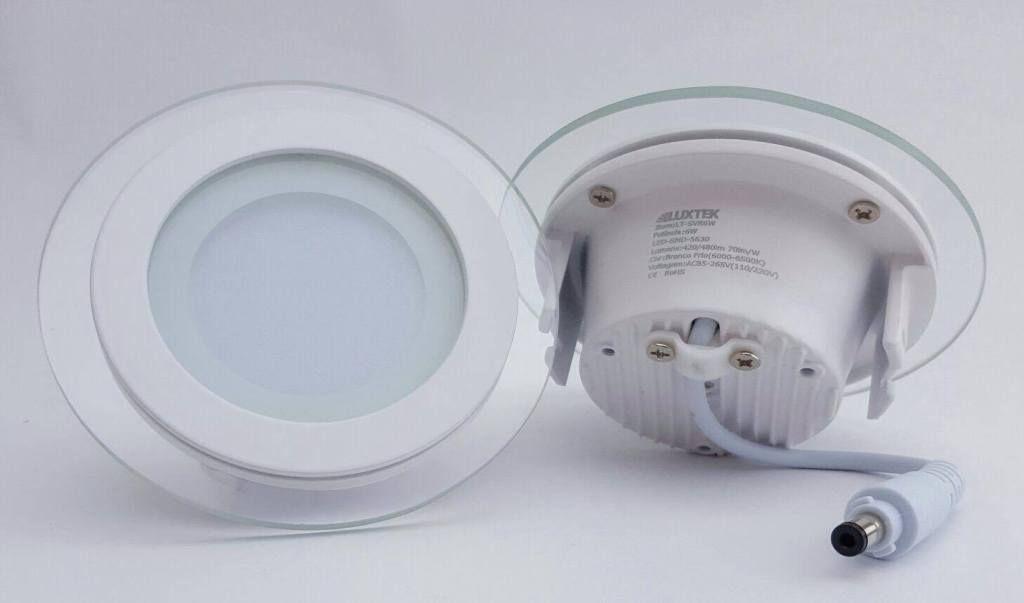 Luminária Plafon LED 6w de Vidro Embutir Branco Frio Redonda / Quadrada - LUXTEK