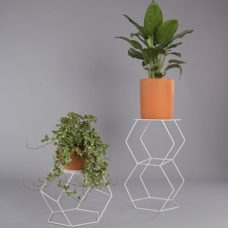 Suporte de vaso botânico para plantas hexágono P