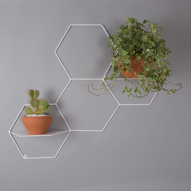 Suporte de vaso de parede botânico para plantas hexágono