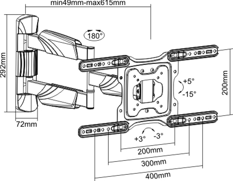 Suporte Triarticulável P/Tv LED 23-65'' FT-4461P FIXATEK