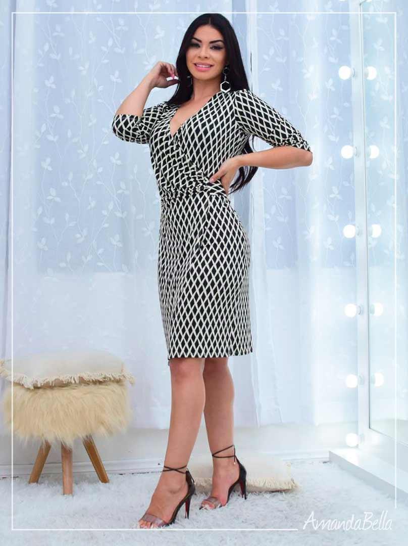 Vestido Envelope P&B Premium  - Amanda Bella