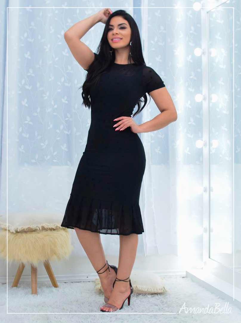 Vestido Preto em Tule - Amanda Bella