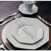 Aparelho de Jantar e Chá Porcelana Schmidt 42 Peças - Dec. Inês