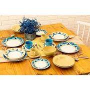 Aparelho De Jantar Oxford Actual Sintra Cerâmica 30 Peças Azul