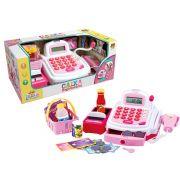 Caixa registradora rosa com som luz - Dm toys