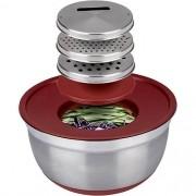 Conjunto Inox German Bowl Com Ralador 3 em 1 Vermelho - Euro Home