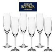 Jogo 6 Taças Champanhe Cristal Transparente 220ml Bohemia