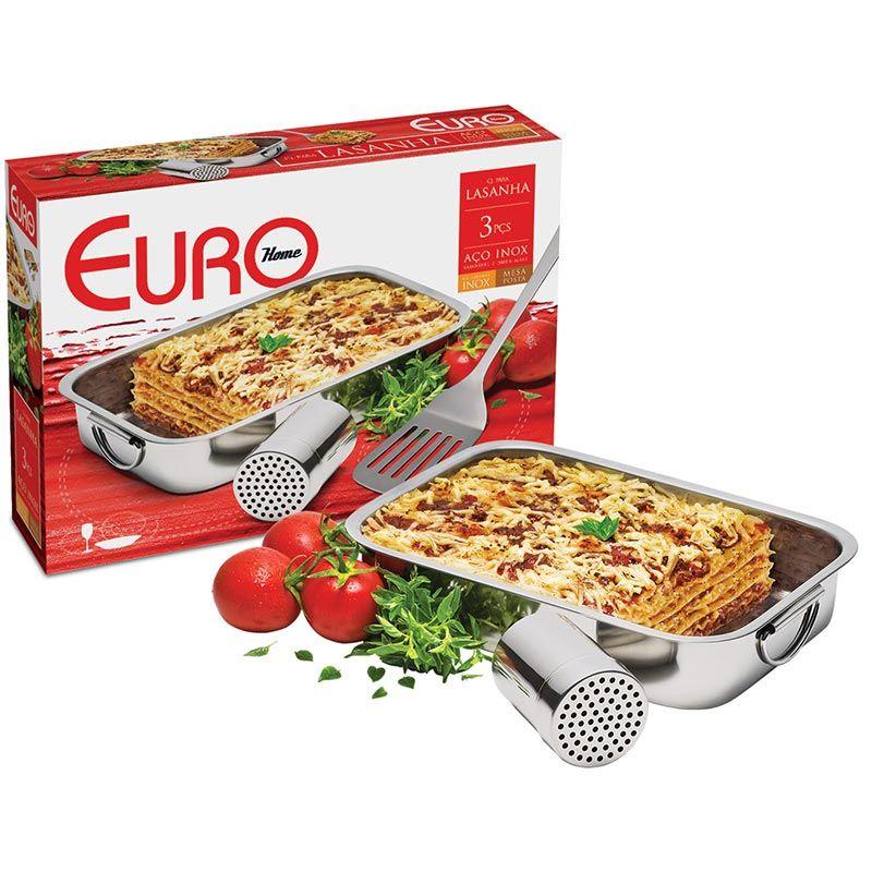 Jogo Para Lasanha 3 Peças - Euro Home Inox