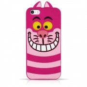Capa iPhone Se / 5s / 5 - Gato Alice Cheshire Silicone 3D - Rosa