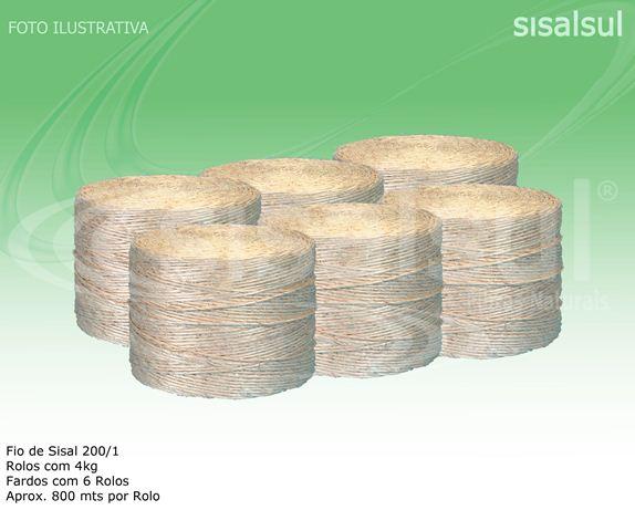 FIO DE SISAL 200/1 - 3MM - 6 ROLOS