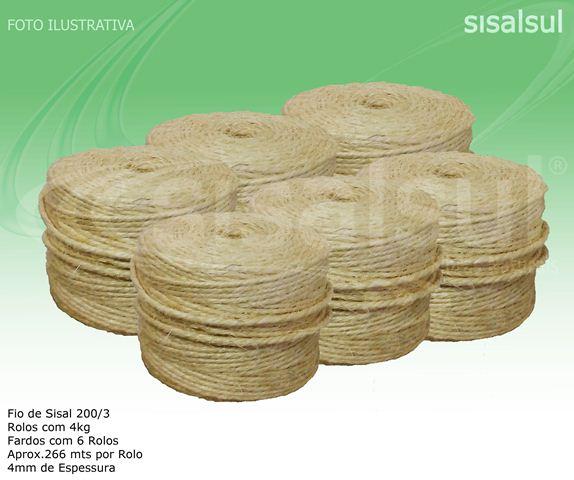 FIO DE SISAL 200/3 4 MM 6 ROLOS C/ 266 METROS CADA X 4 KG x 1 FARDO