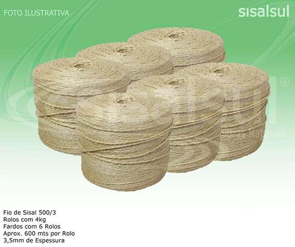 FIO DE SISAL 500/3 3,5 MM 6 ROLOS C/ 660 METROS CADA X 4 KG - 1 FARDO
